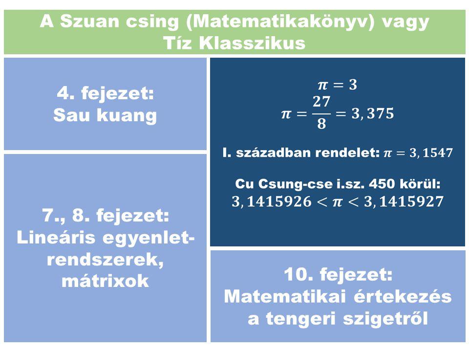A Szuan csing (Matematikakönyv) vagy Tíz Klasszikus 4. fejezet: Sau kuang 7., 8. fejezet: Lineáris egyenlet- rendszerek, mátrixok 10. fejezet: Matemat