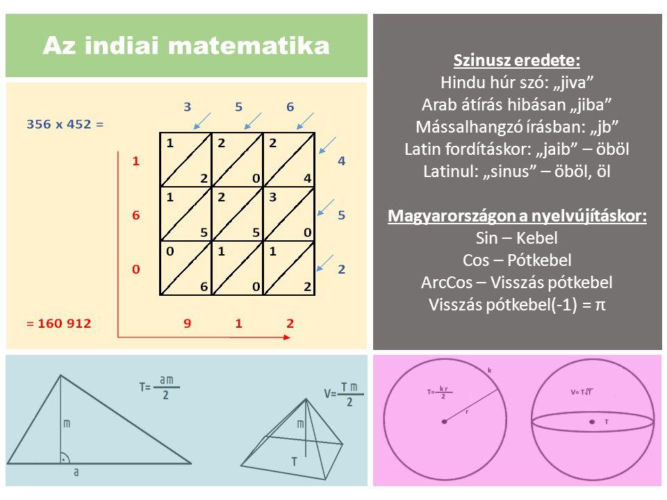 """Az indiai matematika Szinusz eredete: Hindu húr szó: """"jiva"""" Arab átírás hibásan """"jiba"""" Mássalhangzó írásban: """"jb"""" Latin fordításkor: """"jaib"""" – öböl Lat"""