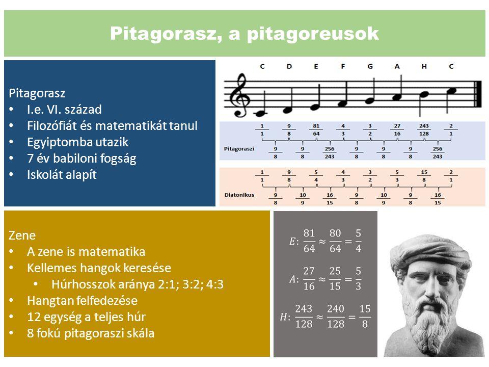 Pitagorasz, a pitagoreusok Pitagorasz I.e. VI. század Filozófiát és matematikát tanul Egyiptomba utazik 7 év babiloni fogság Iskolát alapít Zene A zen