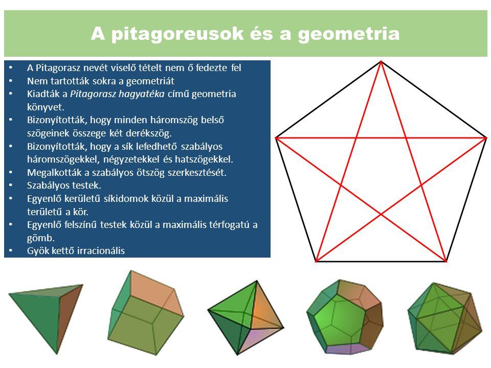 A pitagoreusok és a geometria A Pitagorasz nevét viselő tételt nem ő fedezte fel Nem tartották sokra a geometriát Kiadták a Pitagorasz hagyatéka című