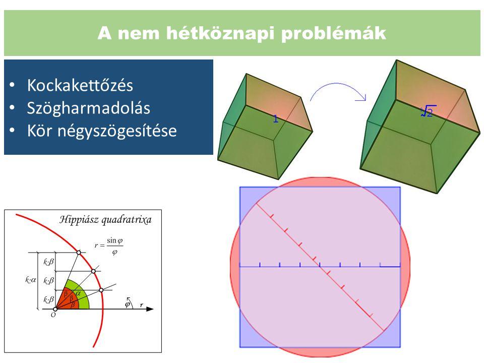 A nem hétköznapi problémák Kockakettőzés Szögharmadolás Kör négyszögesítése