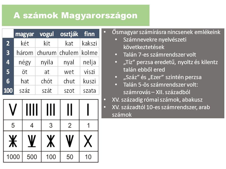 """A számok Magyarországon Ősmagyar számírásra nincsenek emlékeink Számnevekre nyelvészeti következtetések Talán 7-es számrendszer volt """"Tíz"""" perzsa ered"""