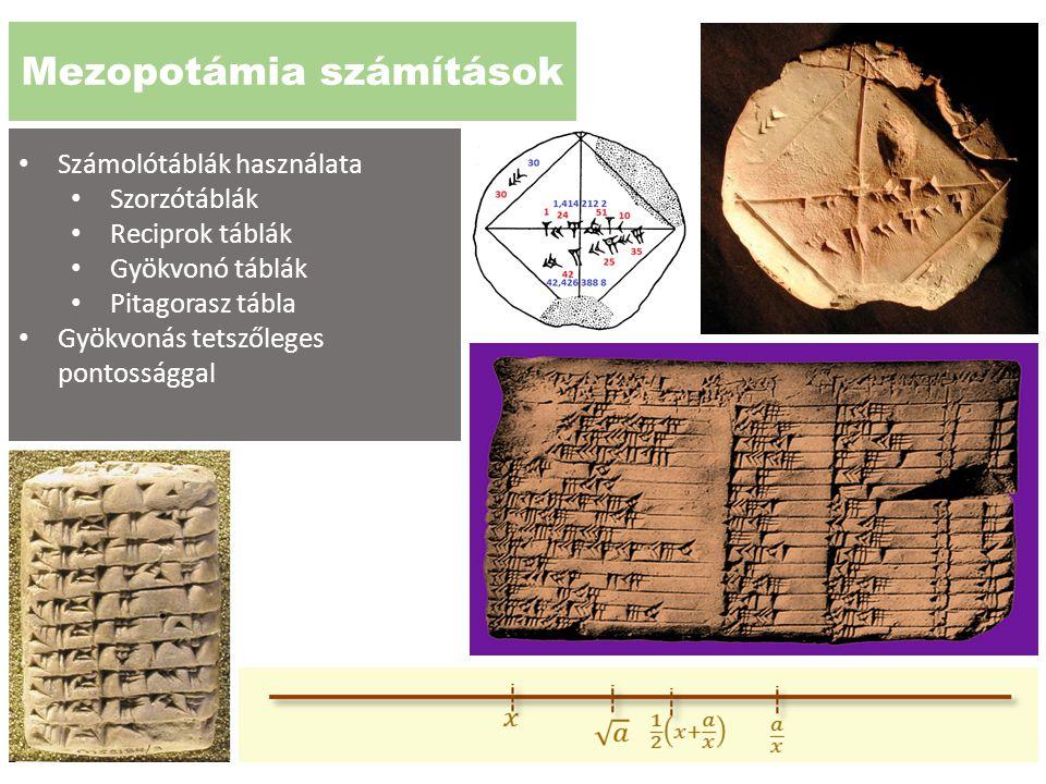 Mezopotámia számítások Számolótáblák használata Szorzótáblák Reciprok táblák Gyökvonó táblák Pitagorasz tábla Gyökvonás tetszőleges pontossággal
