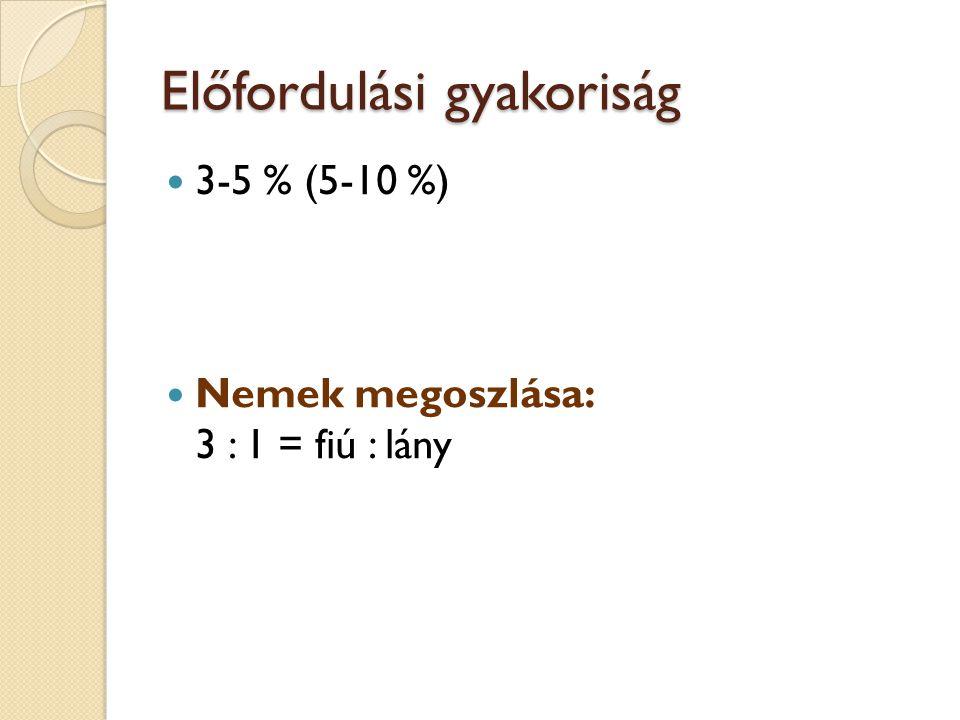 Előfordulási gyakoriság 3-5 % (5-10 %) Nemek megoszlása: 3 : 1 = fiú : lány