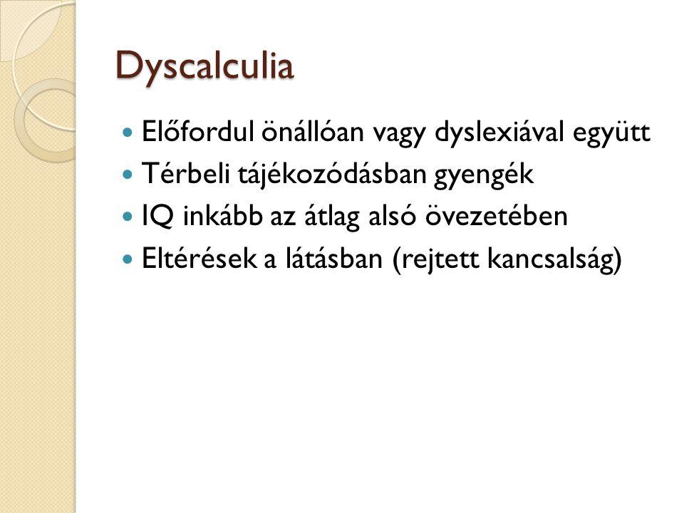 Dyscalculia Előfordul önállóan vagy dyslexiával együtt Térbeli tájékozódásban gyengék IQ inkább az átlag alsó övezetében Eltérések a látásban (rejtett
