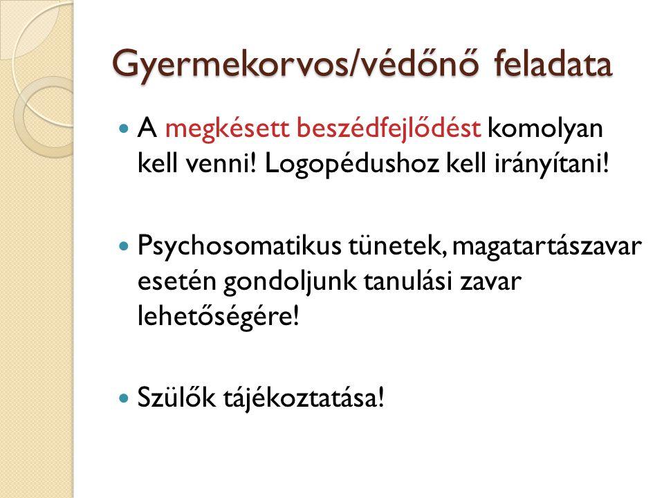 Gyermekorvos/védőnő feladata A megkésett beszédfejlődést komolyan kell venni! Logopédushoz kell irányítani! Psychosomatikus tünetek, magatartászavar e