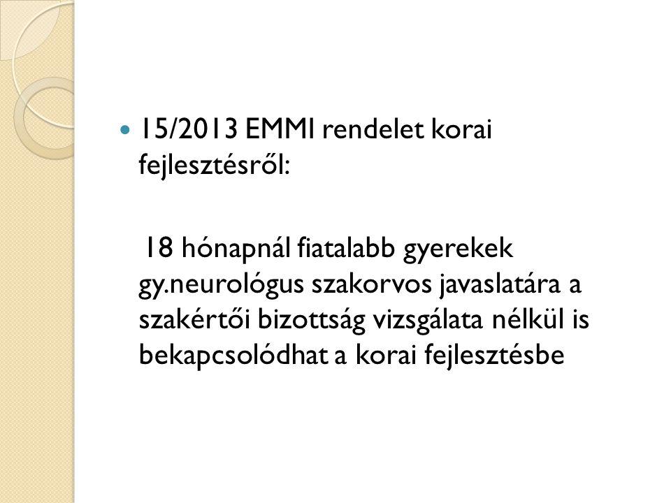 15/2013 EMMI rendelet korai fejlesztésről: 18 hónapnál fiatalabb gyerekek gy.neurológus szakorvos javaslatára a szakértői bizottság vizsgálata nélkül
