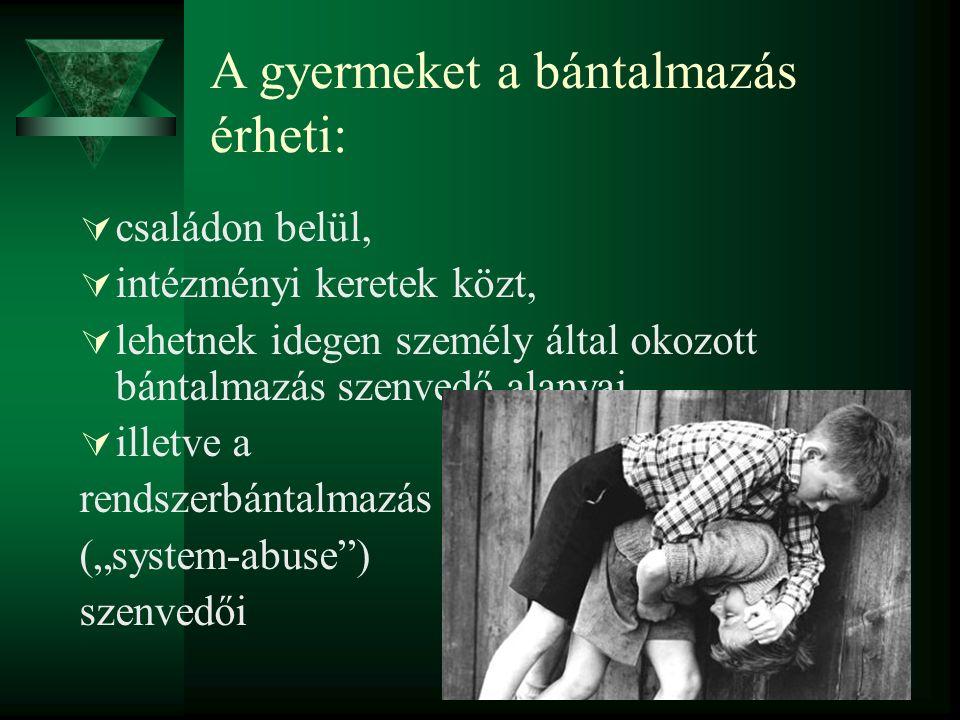 A gyermeket a bántalmazás érheti:  családon belül,  intézményi keretek közt,  lehetnek idegen személy által okozott bántalmazás szenvedő alanyai, 