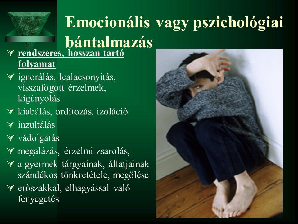 Emocionális vagy pszichológiai bántalmazás  rendszeres, hosszan tartó folyamat  ignorálás, lealacsonyítás, visszafogott érzelmek, kigúnyolás  kiabá