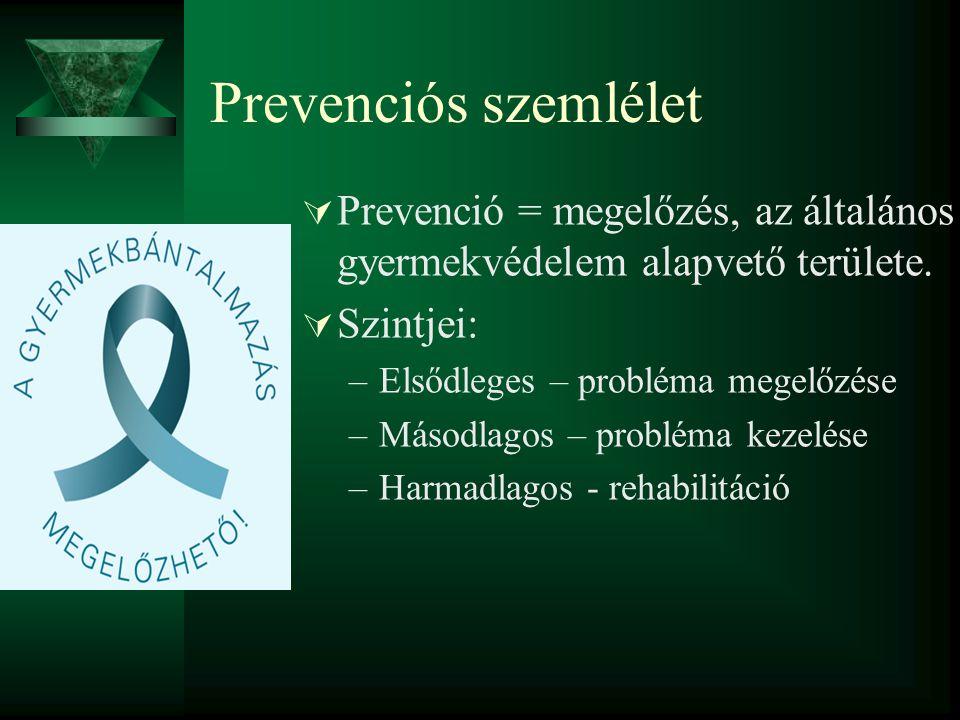 Prevenciós szemlélet  Prevenció = megelőzés, az általános gyermekvédelem alapvető területe.  Szintjei: –Elsődleges – probléma megelőzése –Másodlagos