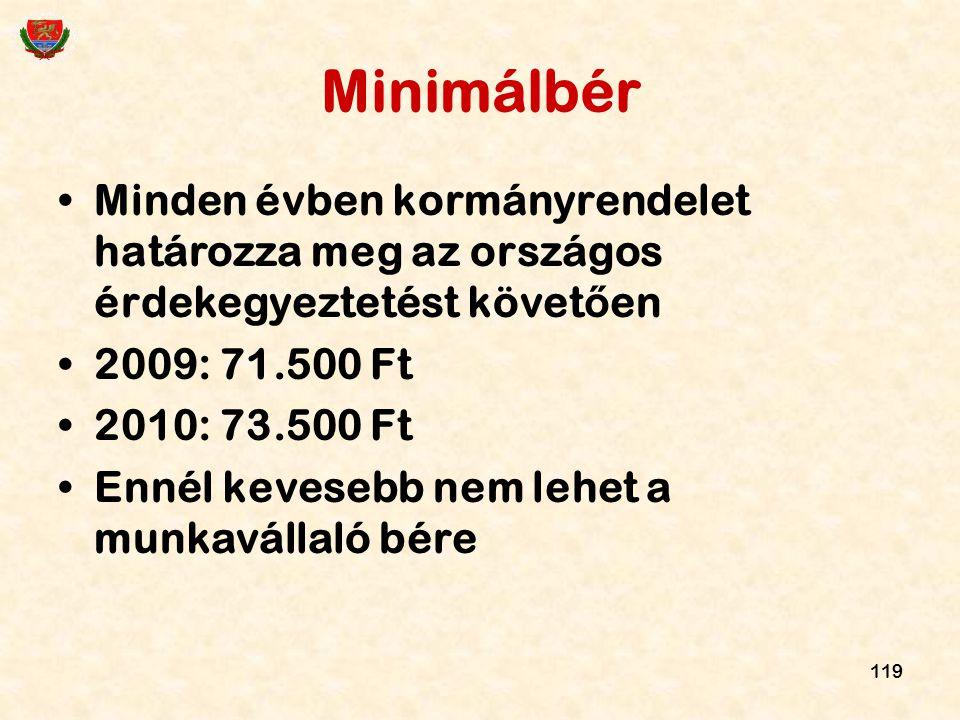 119 Minimálbér Minden évben kormányrendelet határozza meg az országos érdekegyeztetést követ ő en 2009: 71.500 Ft 2010: 73.500 Ft Ennél kevesebb nem l