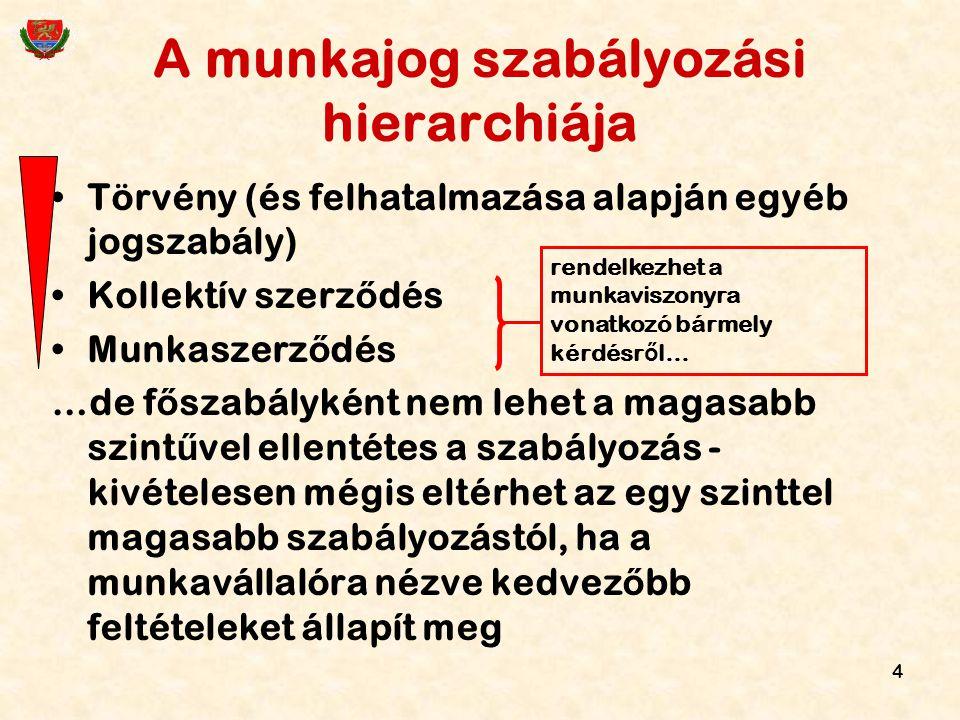 4 A munkajog szabályozási hierarchiája Törvény (és felhatalmazása alapján egyéb jogszabály) Kollektív szerz ő dés Munkaszerz ő dés …de f ő szabályként