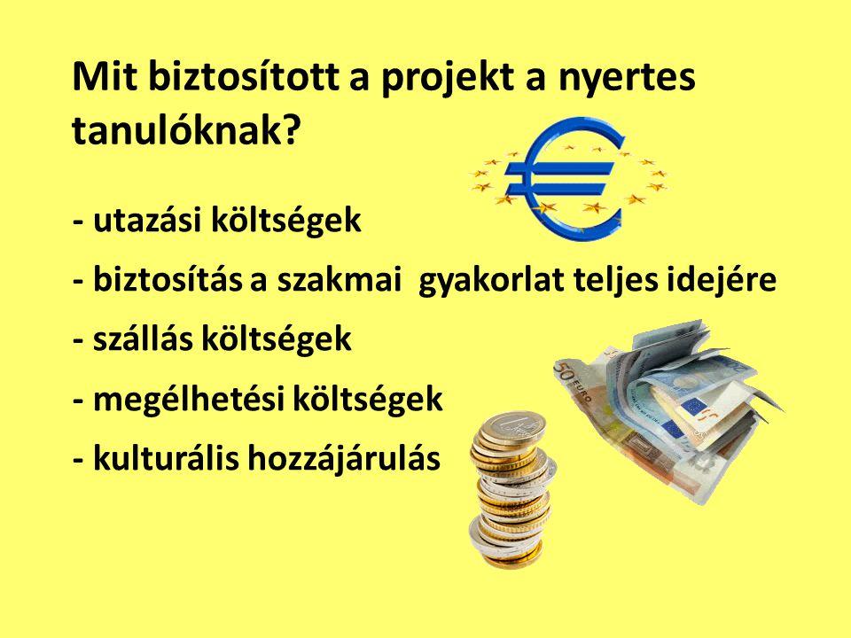 - utazási költségek - biztosítás a szakmai gyakorlat teljes idejére - szállás költségek - megélhetési költségek - kulturális hozzájárulás Mit biztosít