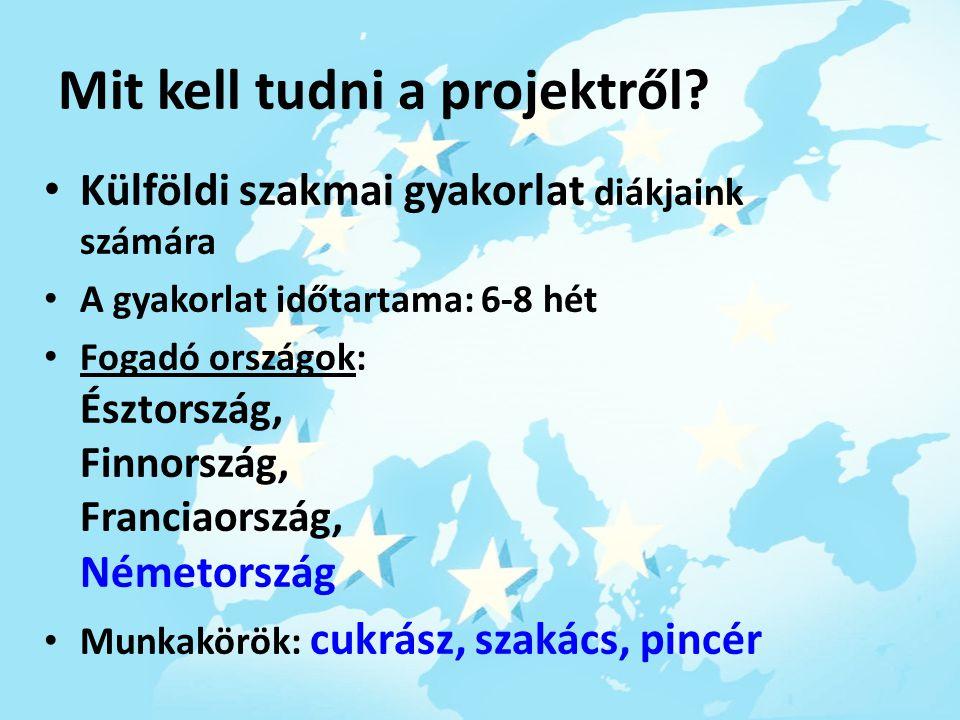 Mit kell tudni a projektről? Külföldi szakmai gyakorlat diákjaink számára A gyakorlat időtartama: 6-8 hét Fogadó országok: Észtország, Finnország, Fra