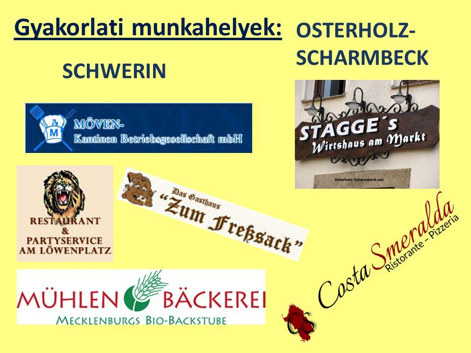 Gyakorlati munkahelyek: SCHWERIN OSTERHOLZ- SCHARMBECK