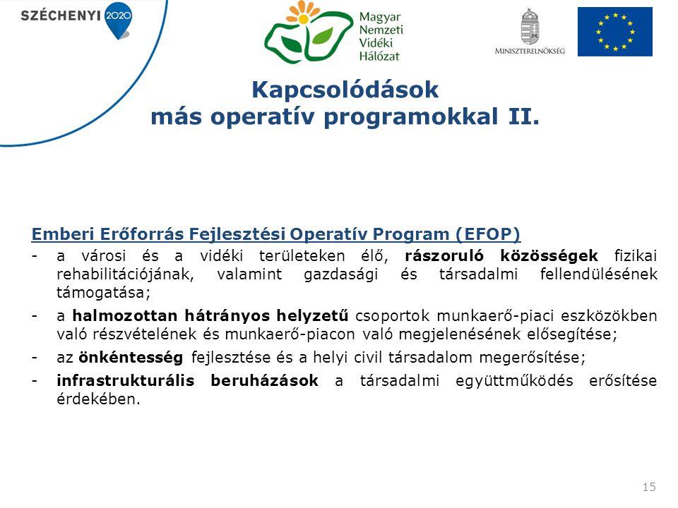 Kapcsolódások más operatív programokkal II. Emberi Erőforrás Fejlesztési Operatív Program (EFOP) -a városi és a vidéki területeken élő, rászoruló közö