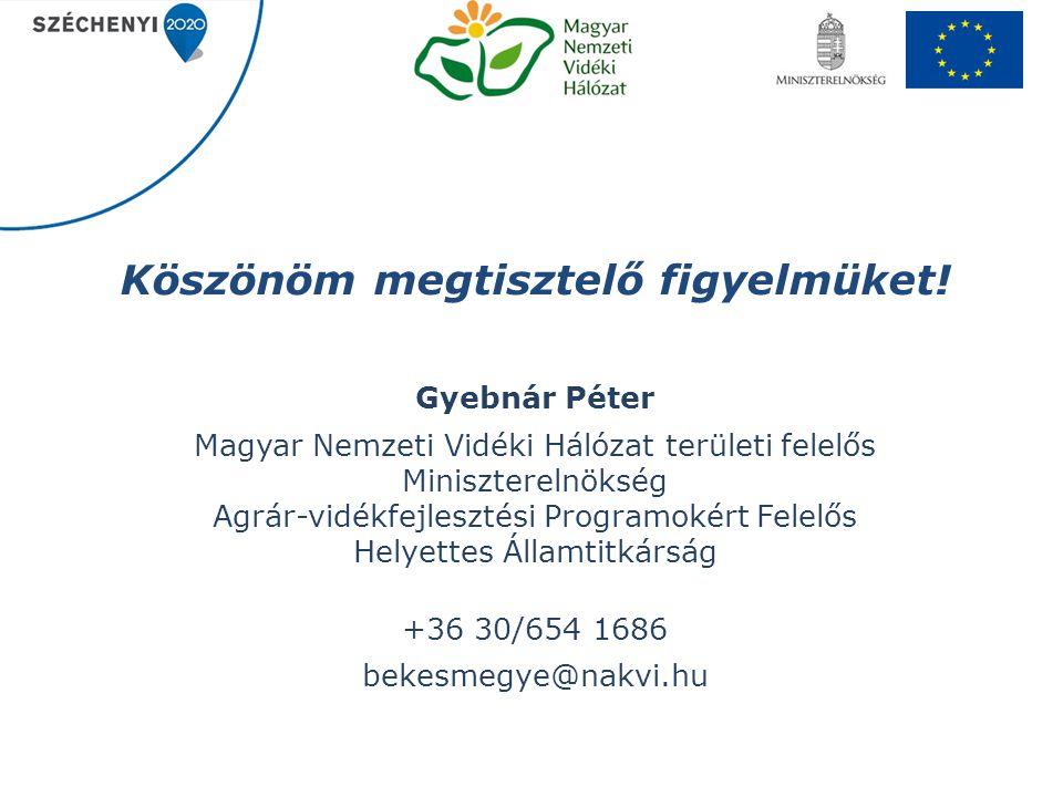 Köszönöm megtisztelő figyelmüket! Gyebnár Péter Magyar Nemzeti Vidéki Hálózat területi felelős Miniszterelnökség Agrár-vidékfejlesztési Programokért F