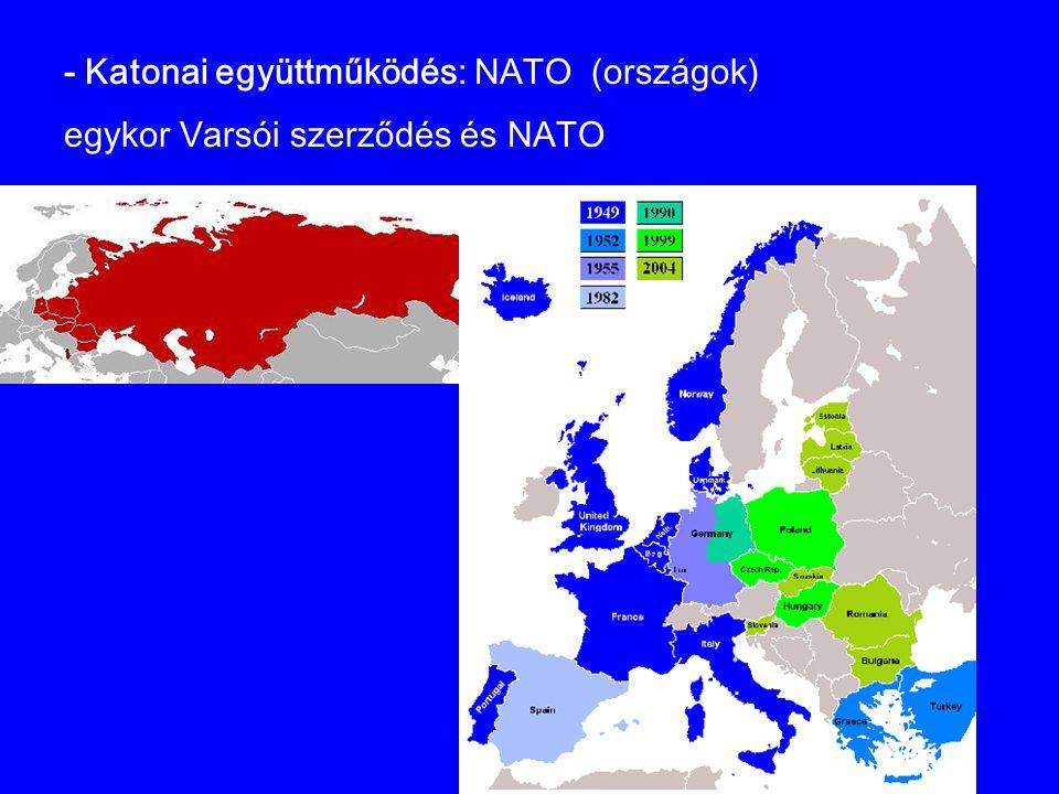 - Katonai együttműködés: NATO (országok) egykor Varsói szerződés és NATO