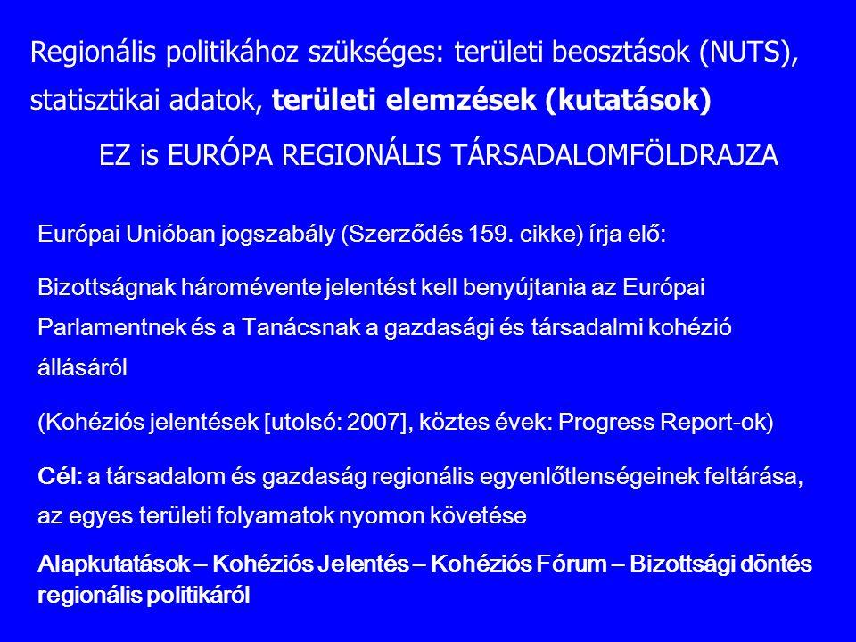 Regionális politikához szükséges: területi beosztások (NUTS), statisztikai adatok, területi elemzések (kutatások) EZ is EURÓPA REGIONÁLIS TÁRSADALOMFÖ