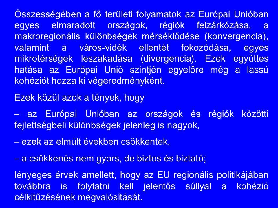 Összességében a fő területi folyamatok az Európai Unióban egyes elmaradott országok, régiók felzárkózása, a makroregionális különbségek mérséklődése (