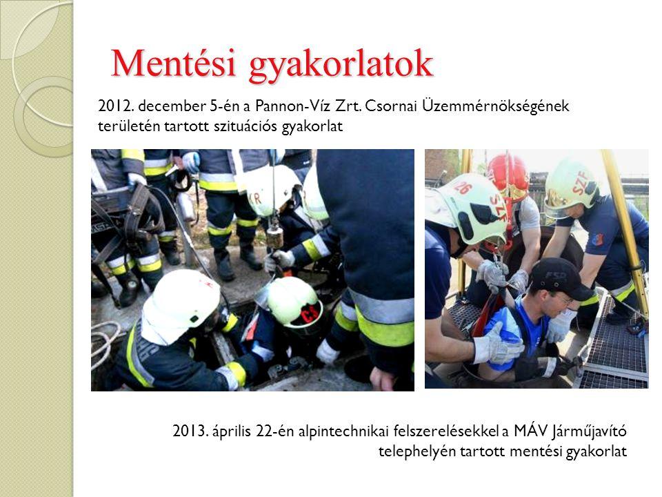 Mentési gyakorlatok 2012. december 5-én a Pannon-Víz Zrt. Csornai Üzemmérnökségének területén tartott szituációs gyakorlat 2013. április 22-én alpinte