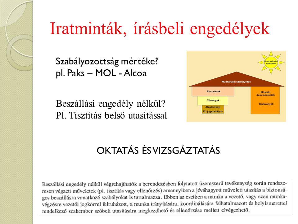 Iratminták, írásbeli engedélyek Szabályozottság mértéke? pl. Paks – MOL - Alcoa Beszállási engedély nélkül? Pl. Tisztítás belső utasítással OKTATÁS ÉS