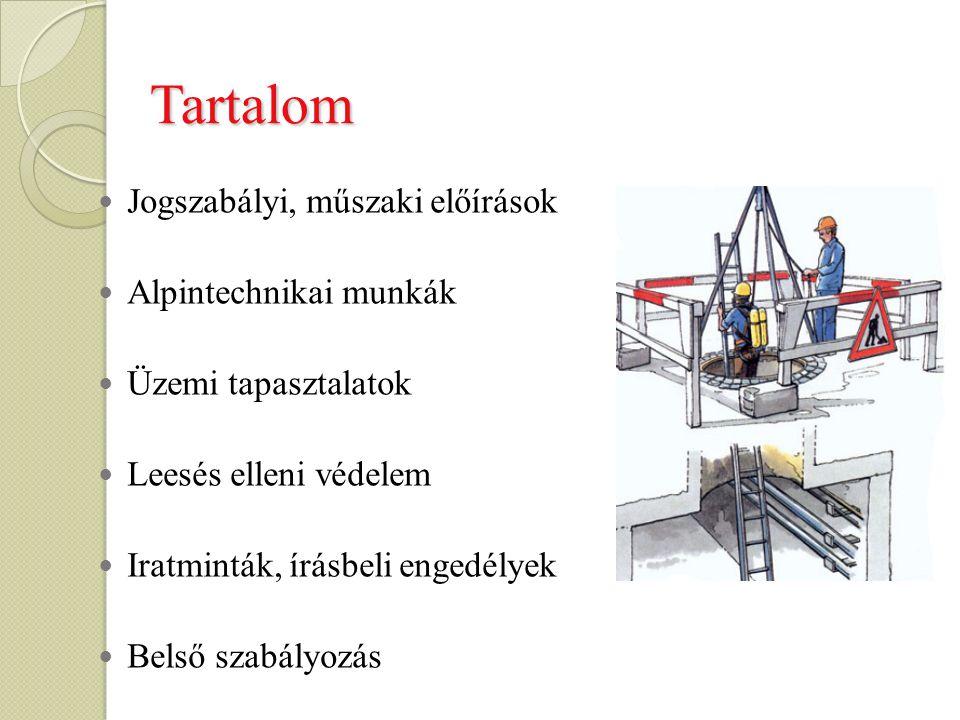 Jogszabályi környezet A veszélyes berendezésekben beszállással végzett munkák biztonságtechnikai követelményei MSZ-09-57.0033:1990