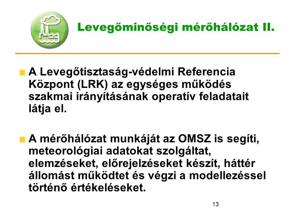 13 Levegőminőségi mérőhálózat II. A Levegőtisztaság-védelmi Referencia Központ (LRK) az egységes működés szakmai irányításának operatív feladatait lát