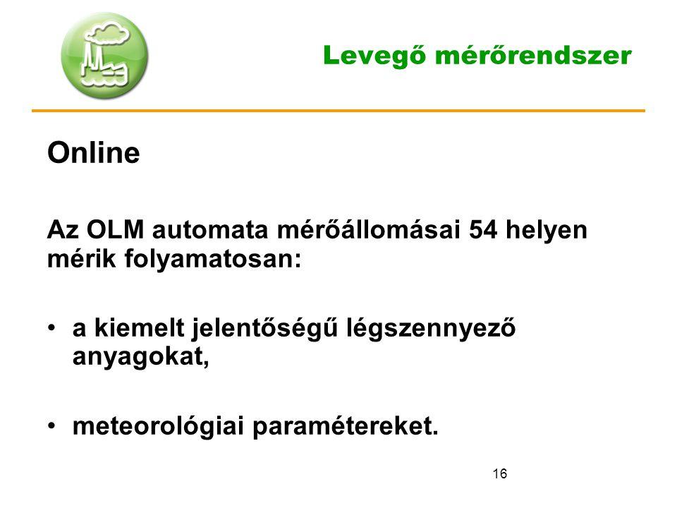 16 Levegő mérőrendszer Online Az OLM automata mérőállomásai 54 helyen mérik folyamatosan: a kiemelt jelentőségű légszennyező anyagokat, meteorológiai