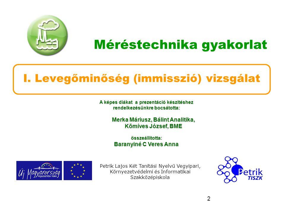 2 Méréstechnika gyakorlat I. Levegőminőség (immisszió) vizsgálat Petrik Lajos Két Tanítási Nyelvű Vegyipari, Környezetvédelmi és Informatikai Szakközé