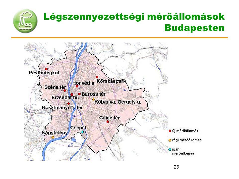 23 Légszennyezettségi mérőállomások Budapesten