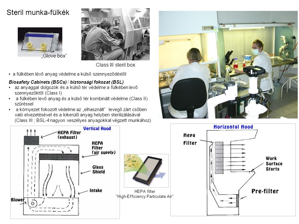 """""""Glove box a fülkében lévő anyag védelme a külső szennyeződéstől Biosafety Cabinets (BSCs) / biztonsági fokozat (BSL) az anyaggal dolgozók és a külső tér védelme a fülkében levő szennyezőktől (Class I) a fülkében levő anyag és a külső tér kombinált védelme (Class II) szűréssel a környezet fokozott védelme az """"elhasznált levegő zárt csőben való elvezetésével és a kikerülő anyag helyben sterilizálásával (Class III ; BSL-4 nagyon veszélyes anyagokkal végzett munkához) HEPA filter High-Efficiency Particulate Air Steril munka-fülkék Class III steril box"""