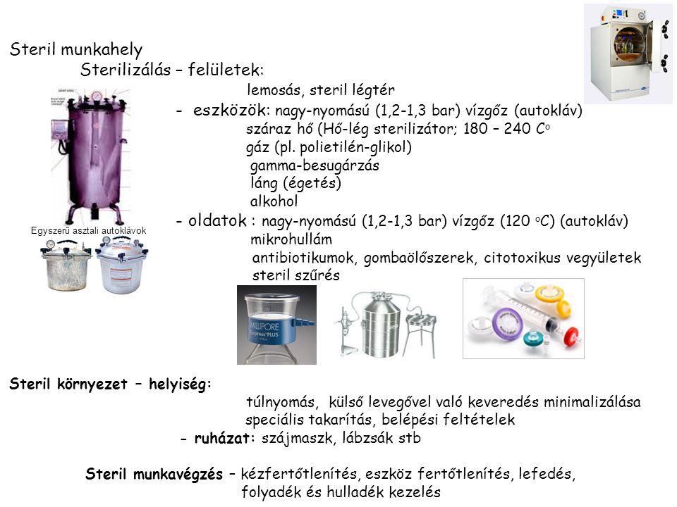 Steril munkahely Sterilizálás – felületek: lemosás, steril légtér - eszközök: nagy-nyomású (1,2-1,3 bar) vízgőz (autokláv) száraz hő (Hő-lég sterilizátor; 180 – 240 C o gáz (pl.