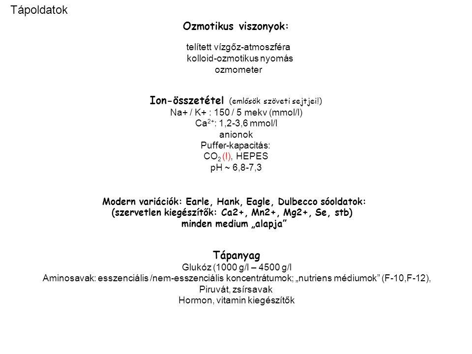 """Ozmotikus viszonyok: telített vízgőz-atmoszféra kolloid-ozmotikus nyomás ozmometer Ion-összetétel (emlősök szöveti sejtjei!) Na+ / K+ : 150 / 5 mekv (mmol/l) Ca 2+ : 1,2-3,6 mmol/l anionok Puffer-kapacitás: CO 2 (!), HEPES pH ~ 6,8-7,3 Modern variációk: Earle, Hank, Eagle, Dulbecco sóoldatok: (szervetlen kiegészítők: Ca2+, Mn2+, Mg2+, Se, stb) minden medium """"alapja Tápanyag Glukóz (1000 g/l – 4500 g/l Aminosavak: esszenciális /nem-esszenciális koncentrátumok; """"nutriens médiumok (F-10,F-12), Piruvát, zsírsavak Hormon, vitamin kiegészítők Tápoldatok"""