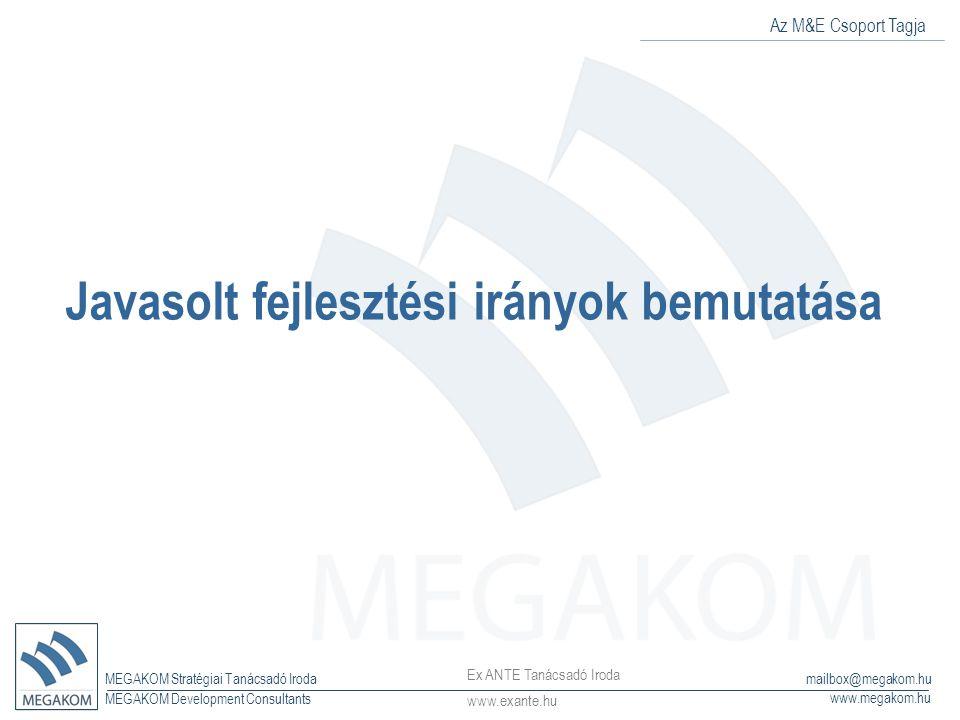 Az M&E Csoport Tagja MEGAKOM Stratégiai Tanácsadó Iroda www.megakom.hu MEGAKOM Development Consultants mailbox@megakom.hu Javasolt fejlesztési irányok bemutatása Ex ANTE Tanácsadó Iroda www.exante.hu