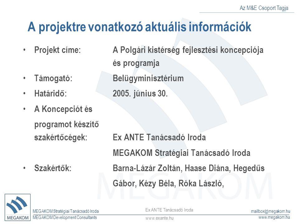 Az M&E Csoport Tagja MEGAKOM Stratégiai Tanácsadó Iroda www.megakom.hu MEGAKOM Development Consultants mailbox@megakom.hu A projektre vonatkozó aktuál