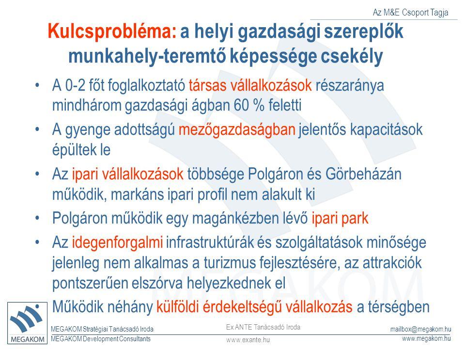 Az M&E Csoport Tagja MEGAKOM Stratégiai Tanácsadó Iroda www.megakom.hu MEGAKOM Development Consultants mailbox@megakom.hu Kulcsprobléma: a helyi gazda