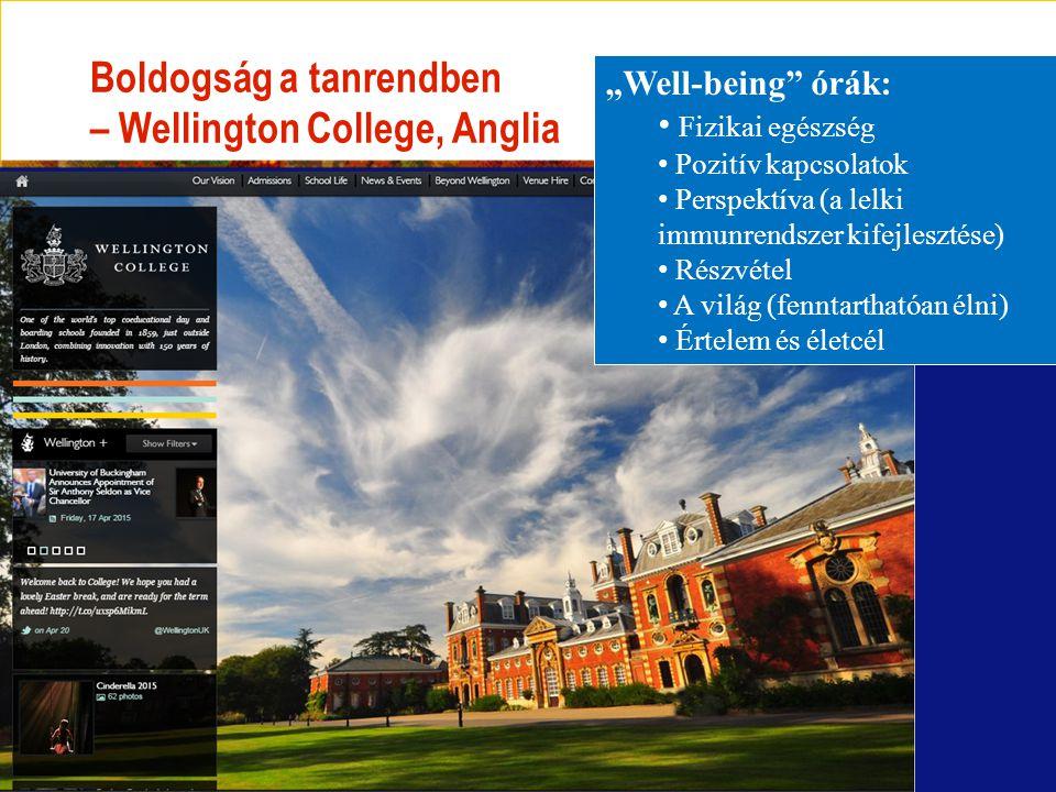 """Boldogság a tanrendben – Wellington College, Anglia """"Well-being órák: Fizikai egészség Pozitív kapcsolatok Perspektíva (a lelki immunrendszer kifejlesztése) Részvétel A világ (fenntarthatóan élni) Értelem és életcél"""