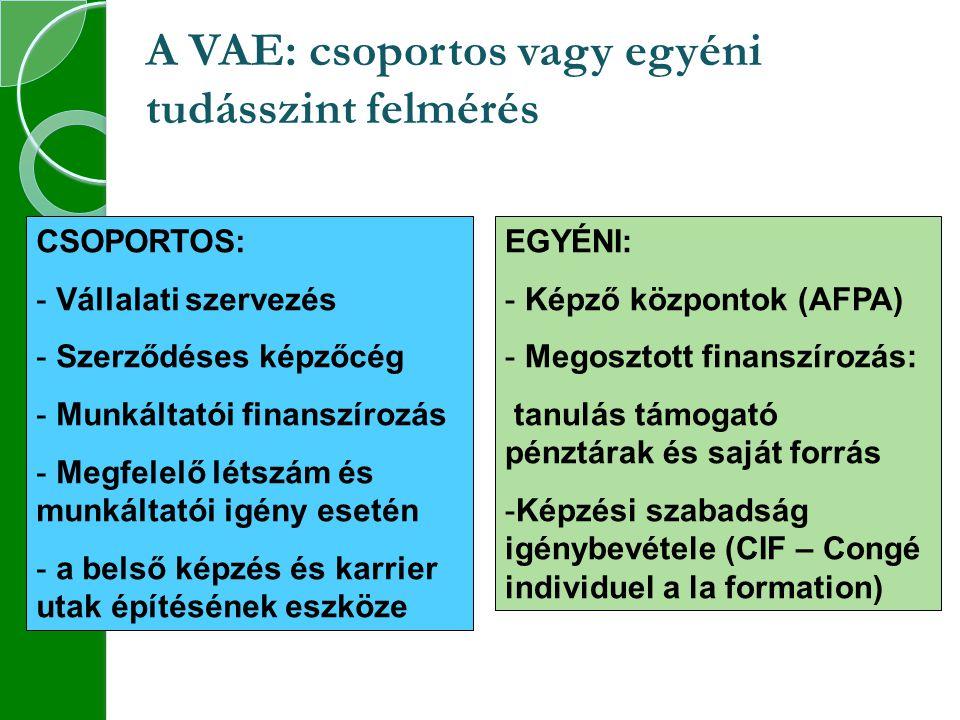A VAE: csoportos vagy egyéni tudásszint felmérés CSOPORTOS: - Vállalati szervezés - Szerződéses képzőcég - Munkáltatói finanszírozás - Megfelelő létszám és munkáltatói igény esetén - a belső képzés és karrier utak építésének eszköze EGYÉNI: - Képző központok (AFPA) - Megosztott finanszírozás: tanulás támogató pénztárak és saját forrás -Képzési szabadság igénybevétele (CIF – Congé individuel a la formation)