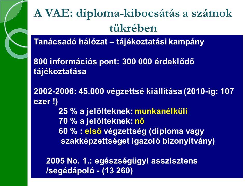 A VAE: diploma-kibocsátás a számok tükrében Tanácsadó hálózat – tájékoztatási kampány 800 információs pont: 300 000 érdeklődő tájékoztatása 2002-2006: 45.000 végzettsé kiállítása (2010-ig: 107 ezer !) 25 % a jelölteknek: munkanélküli 70 % a jelölteknek: nő 60 % : első végzettség (diploma vagy szakképzettséget igazoló bizonyítvány) 2005 No.
