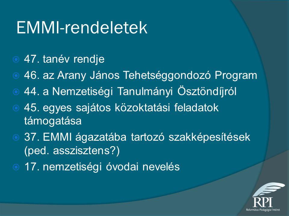 EMMI-rendeletek  47. tanév rendje  46. az Arany János Tehetséggondozó Program  44. a Nemzetiségi Tanulmányi Ösztöndíjról  45. egyes sajátos közokt