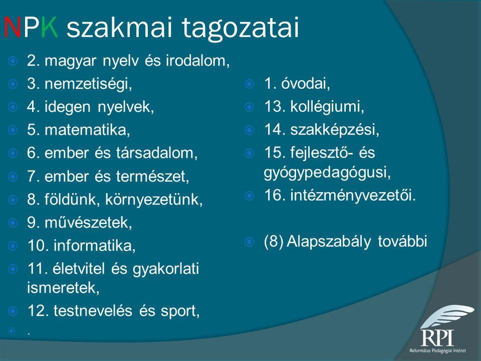 NPK szakmai tagozatai  2. magyar nyelv és irodalom,  3. nemzetiségi,  4. idegen nyelvek,  5. matematika,  6. ember és társadalom,  7. ember és t
