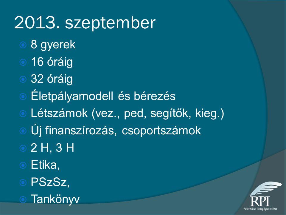 2013. szeptember  8 gyerek  16 óráig  32 óráig  Életpályamodell és bérezés  Létszámok (vez., ped, segítők, kieg.)  Új finanszírozás, csoportszám