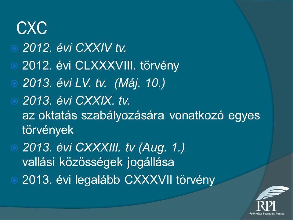 CXC  2012. évi CXXIV tv.  2012. évi CLXXXVIII. törvény  2013. évi LV. tv. (Máj. 10.)  2013. évi CXXIX. tv. az oktatás szabályozására vonatkozó egy