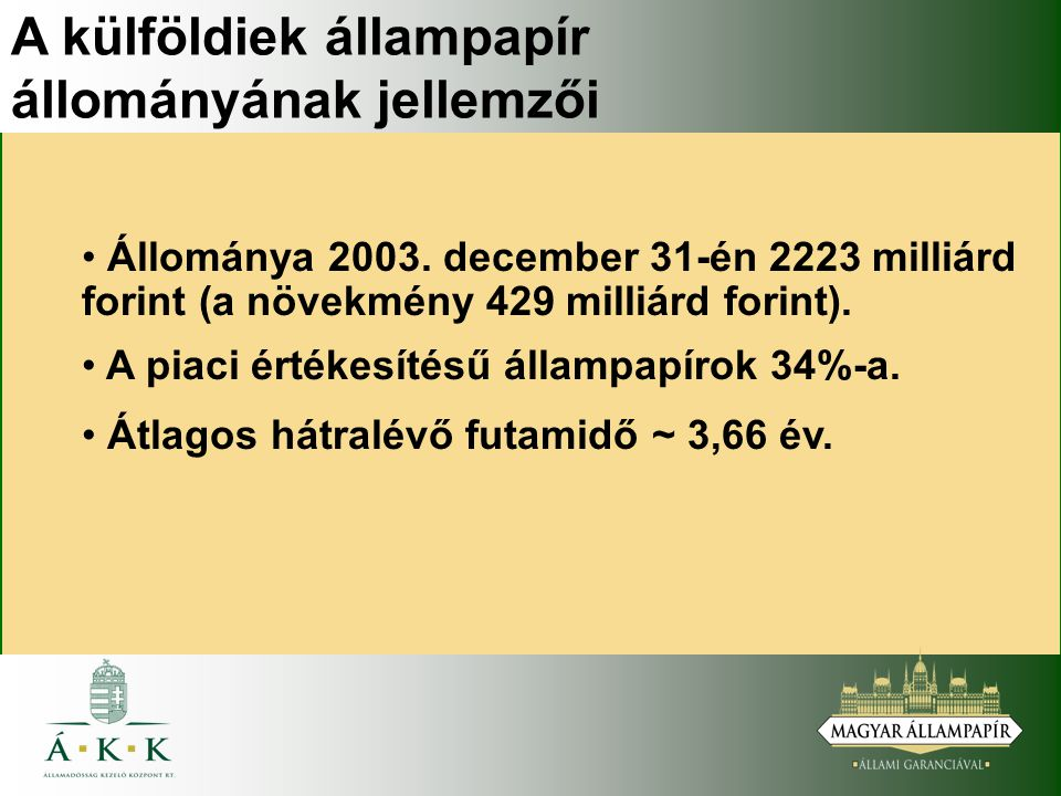A külföldiek állampapír állományának jellemzői Állománya 2003.