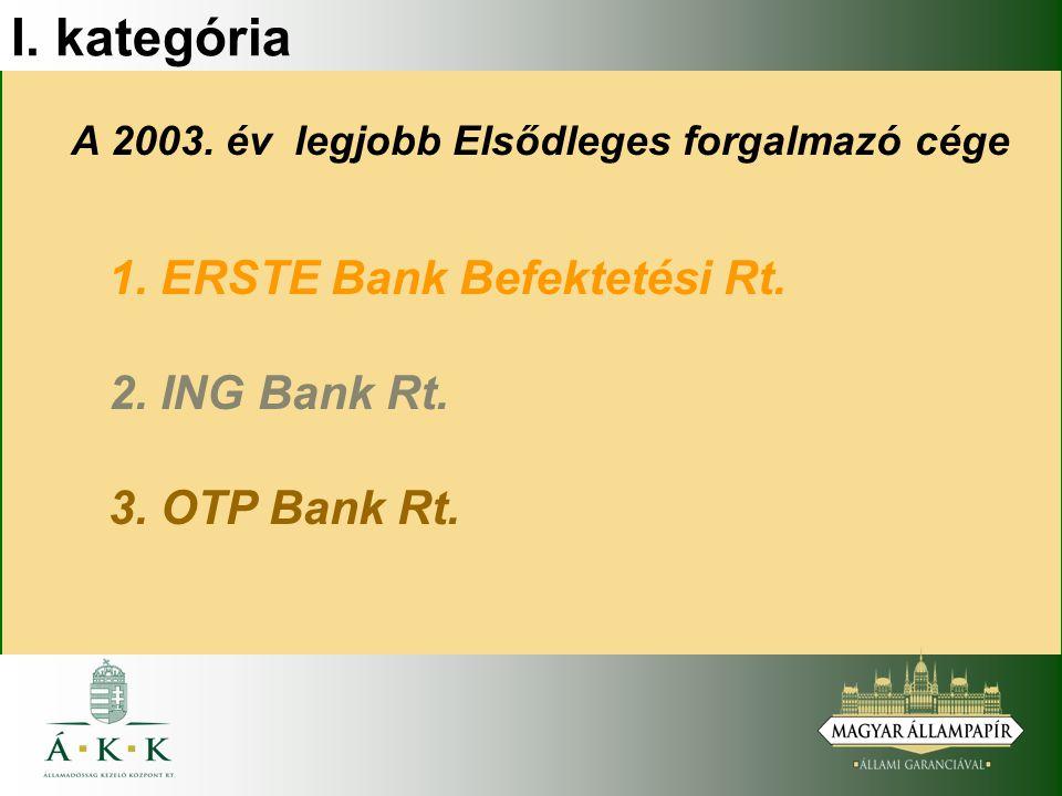 I. kategória A 2003. év legjobb Elsődleges forgalmazó cége 1.