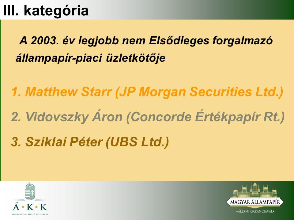 III. kategória A 2003. év legjobb nem Elsődleges forgalmazó állampapír-piaci üzletkötője 1.