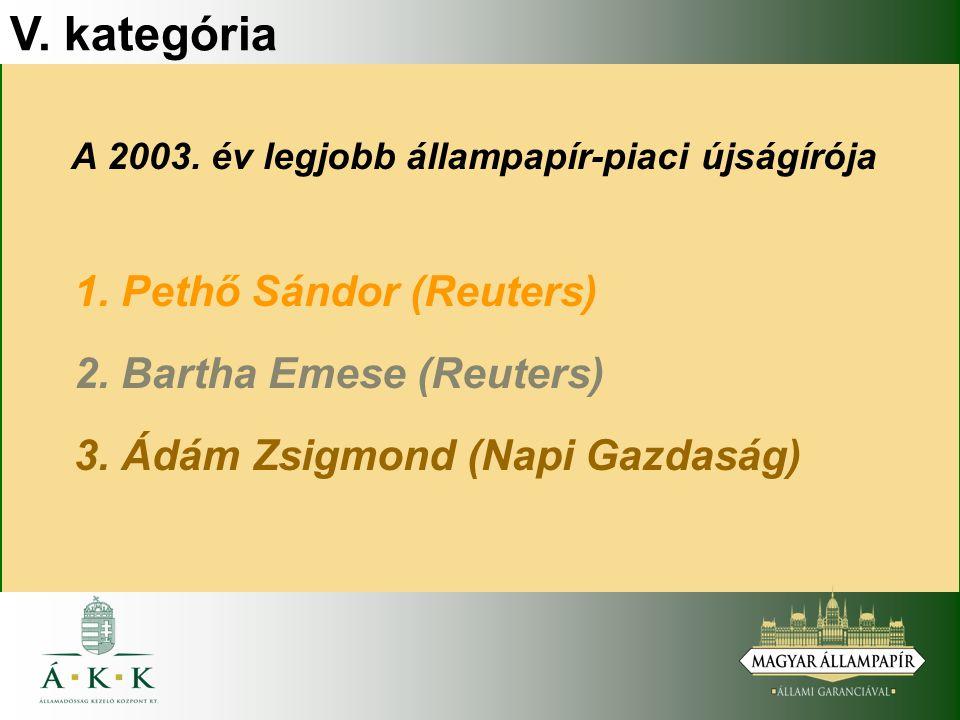 V. kategória A 2003. év legjobb állampapír-piaci újságírója 1.