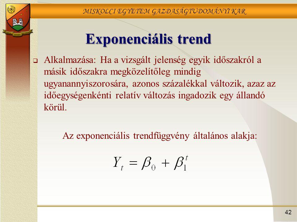 MISKOLCI EGYETEM GAZDASÁGTUDOMÁNYI KAR 42 Exponenciális trend  Alkalmazása: Ha a vizsgált jelenség egyik időszakról a másik időszakra megközelítőleg