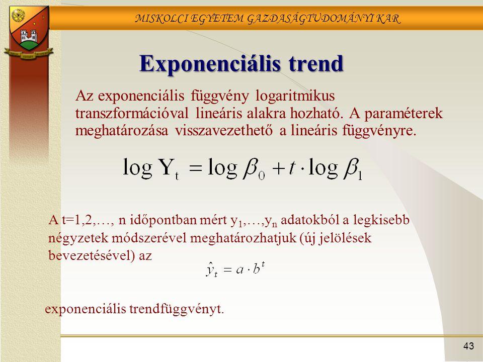 MISKOLCI EGYETEM GAZDASÁGTUDOMÁNYI KAR 43 Exponenciális trend Az exponenciális függvény logaritmikus transzformációval lineáris alakra hozható. A para